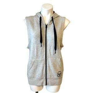 True Religion Hoodie Vest Small Full Zip Pockets